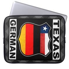 #Texas German American Laptop Cover, available to purchase at #Zazzle.com, items can be customized with your own text #germanamerican #germany #deutschland
