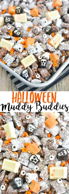 Halloween Muddy Buddies Recipe This Halloween Chex Mix Muddy Buddies (aka Puppy Chow) recipe is chock-full of October delight a little salty a[] The post Halloween Muddy Buddies Recipe appeared first on Halloween Desserts. Dessert Halloween, Looks Halloween, Halloween Goodies, Halloween Food For Party, Halloween Cupcakes, Halloween Fruit, Halloween Bucket List, Halloween Puppy, Halloween Party Snacks