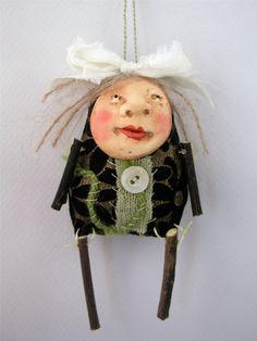 Folk Art Doll Ornament cloth clay hand by CindyRiccardelli on Etsy, $22.00