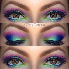 If you're off to a summer festival, light up the party with these Northern Lights eyes. #makeup #summerfestival #EyeMakeupGlitter