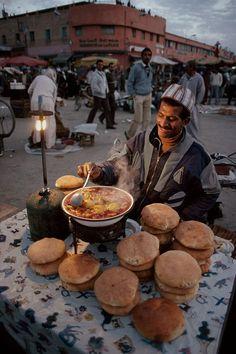 Shakshuka & Pitas l Marrakech. Morocco, 1988, Steve McCurry