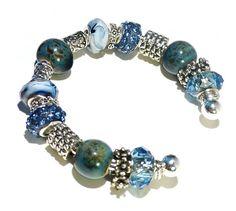 Blue Ocean Bracelet with European Style Beads Charm Bracelet 7.5 inches via Etsy