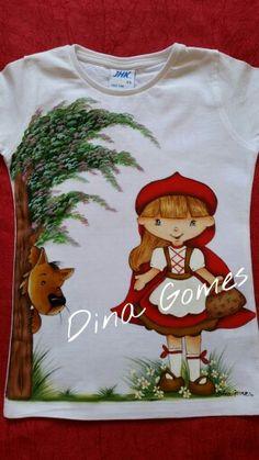 Camiseta pintada à mão , para aniversariante de 2 aninhos. ..tema da festa, Capuchinho vermelho