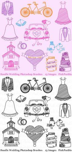 Doodle Wedding Photoshop Brushes. Photoshop Brushes. $6.00