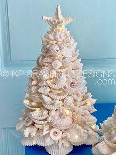 Coastal Christmas Decor, Beach Christmas, Diy Christmas Tree, Blue Christmas, Xmas Tree, Christmas Tree Decorations, Coastal Decor, Seashell Christmas Ornaments, Coastal Cottage