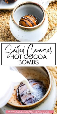 Pour hot milk over these Salted Caramel Hot Cocoa Bombs, let them melt and they magically release marshmallows, hot cocoa and that delicious caramel flavor. The perfect way to mix up your hot cocoa flavors.