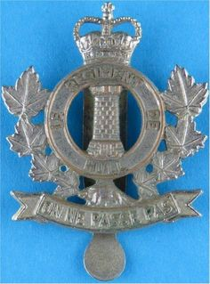 Le Regiment De Hull (Royal Canadian Armoured Corps) Canadian Army Other Ranks' metal cap badge for sale Military Cap, Military Uniforms, Canadian Army, British Army, Queen Elizabeth Crown, Army Hat, Commonwealth, Armed Forces, Motto
