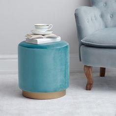 Bloomsbury Velvet Stool Celadon Blue