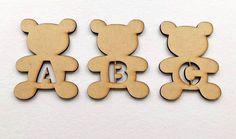 Wooden MDF Teddy Bear letters 10.5cm high craft shape, embellishment