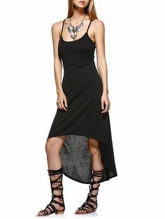 Stylish Women's Spaghetti Straps High Low Black Dress