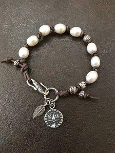 Pearl Leather Wrap Bracelet Boho Silver Bracelet Lotus