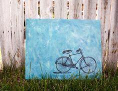 Leinwandbilder blau hintergrund selber gestalten diy fahrrad