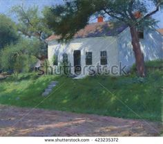 Roadside Cottage, by Dennis Miller Bunker, 1889, American impressionist painting, oil on canvas. Bunker painted brightly colored landscape paintings in an impressionist style before his early death a - stock photo