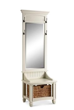 Featured in a cottage cream finish, this multi-functional piece boasts a beveled mirror so you can get that last once over before heading out the door. Four hooks provide room for your coats, scarfs o