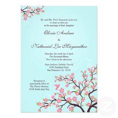 Blue pink cherry blossoms wedding invitation