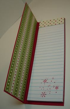 altered legal pad * The notepad itself is a Junior Legal Pad purchased at local office supply store (Staples or OfficeMax). They have a copy center, and all you do is ask them to cut the pads in half vertically. Post It Note Holders, Diy Notebook, Notebook Covers, Christmas Wishes, Christmas Medley, Christmas Favors, Christmas Christmas, Xmas Gifts, Scrapbook Paper Crafts