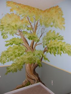 Amazing tree wall mural art by artist Sarah Lindsey in S. Faux Painting, Mural Painting, Mural Art, Wall Art, Playroom Mural, Tree Wall Murals, School Murals, Church Nursery, Trendy Tree