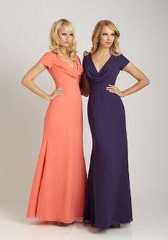 Chiffon A line Cowl Natural Waist Floor Length Short Sleeve Bridesmaid Dress - Angeldress.co.uk