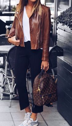 #fall #fashion · Brown Leather Jacket + Cropped Black Pants + White Sneaker
