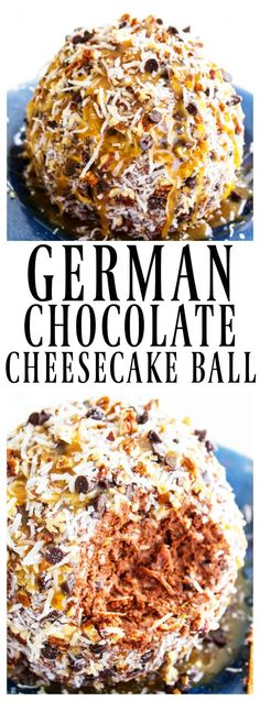 German Chocolate Cheesecake Ball - A Dash of Sanity Insanely delicious and easy, this GERMAN CHOCOLATE CHEESECAKE BALL is a simple, no-bake recipe that makes the perfect holiday recipes party center. Dessert Dips, Fun Desserts, Delicious Desserts, Dessert Recipes, Yummy Food, Yummy Treats, Sweet Treats, Cheese Ball Recipes, Appetizer Recipes
