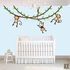 $62 Hanging Monkey Wall Decal, Boy Monkey Decor, Monkey Decal, Nursery Wall Decals, Boy Monkey Nursery, Original Design