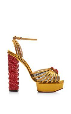 Roslanida Silk-Satin Platform Sandals by Charlotte Olympia Now Available on Moda Operandi