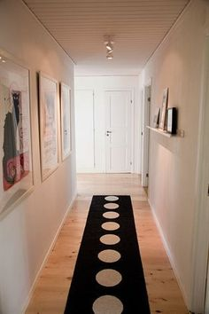 hall - lighten up my long hallway.  Paint the dark paneling. Vera Pappelina runner taking centre stage, amking for a dramatic walkway. #hallwayideaslong