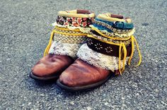 Inspired by her own pair of embellished boots by Luxury Jones, Mr. Kate recreates a DIY Bohemian (Boho) Boot using thrifted cowboy boots, belts, lace, t-shir...