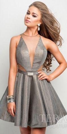 1eaaa191f0 Terani Couture Deep V Metallic Homecoming Dress Prom Party Dresses