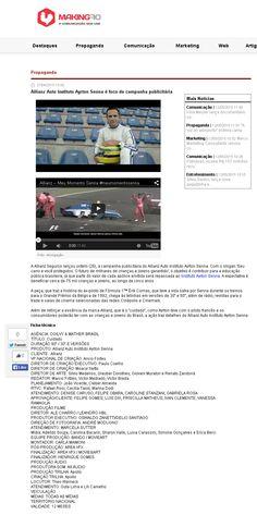 Título: Allianz Auto Instituto Ayrton Senna é foco de campanha publicitária. Veículo: Making Of. Data: 27/04/2015 Cliente: Allianz
