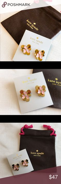 """New Kate Spade Pansy Blossom Studs in Gold/Pink! Pretty and fun, these Floral studs are made of shiny gold plated metal with glass.  Drop length and width is 1"""". 14 karat gold filled posts.  kate spade Jewelry Earrings"""