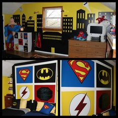 This is the most amazing superhero room EVER! -- Superman Batman Spiderman Superhero Room  Since my boyfriend is super hero Obsessed (and honestly so am I), our future children would/will have a room much like this.