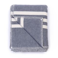 Super Soft Hemstitched Throw, Navy with Ecru Stripes // whitesmercantile.com