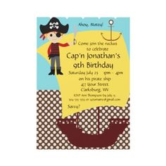 Customizable Pirate Ship Birthday Party Custom Invite by wingding