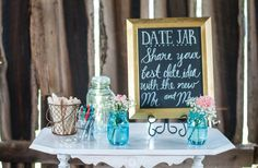 Date jar for your wedding reception, so guests can give you date ideas for the future! Click to view more from this shabby-chic Nashville wedding at Drakewood Farm, photographed by Ace Photography! | The Pink Bride www.thepinkbride.com