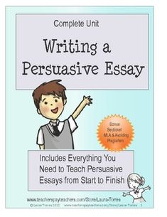 This complete unit for teaching persuasive essays has everything you need from pre-writing techniques to group work, ethos, pathos and logos lesson...