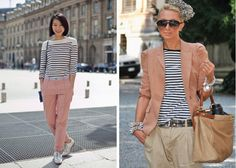 Love both takes on the pink, black and white stripe combo.  But the silver brogues...yessss!
