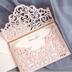 Cordially Inviting – blush shimmer laser cut sleeve with classic invitation and glittery backer But black, royal purple, brown, gray? Cricut Wedding Invitations, Affordable Wedding Invitations, Unique Invitations, Laser Cut Invitation, Debut Invitation, Invitations Online, Invitation Cards, Neutral Wedding Colors, Wedding Color Schemes
