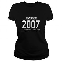 11 2007 November Star Was born T Shirt Hoodie Shirt VNeck Shirt Sweat Shirt Youth Tee for womens and Men