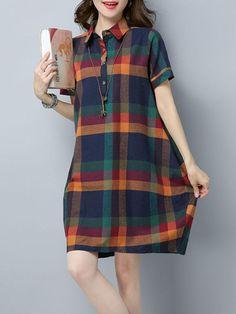 Fashionmia - Fashionmia Plaid Pocket Turn Down Collar Sack Shift Dress - AdoreWe.com Modest Casual Outfits, Modest Dresses, Simple Outfits, Simple Dresses, Nice Dresses, 1960s Fashion Dress, Fashion Dresses, Muslim Fashion, Hijab Fashion