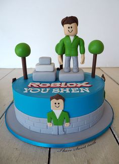 how to make a roblox fondant figure Roblox Birthday Cake, Roblox Cake, 9th Birthday Cake, Boy Birthday Parties, Kids Menu, Minecraft Party, Fondant Figures, Cakes For Boys, Creative Cakes