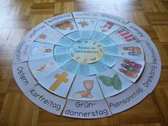 Druckvorlage für einem Legekreis zum christlichen Jahreskreis für Kinderkirche, Kindergarten, Schule