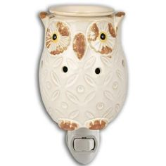 Cream Owl Plug In Fragrance Warmer - Wax Melter by Boulevard