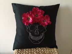Hey, I found this really awesome Etsy listing at https://www.etsy.com/listing/157701413/skull-pillow-with-roses-and-beads