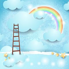 Buy discount Kate Blue Clouds Colourful Rainbow Ladder Photography Backdrop for Children – Katebackdrop Background For Photography, Photography Backdrops, Rainbow Cartoon, Baby Cartoon, Vinyl Photo Backdrops, Cartoon Paper, Rainbow Photo, Blue Sky Background, Backdrops