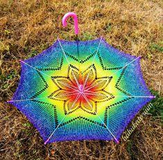 Rainbow Crochet Lace Parasol