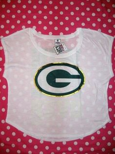 New Victoria's Secret Pink Green Bay Packers NFL White Tee T Shirt M 2013 | eBay