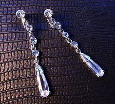 """2.75"""" Long Stiletto Clip-On Drop Earrings - Pave Swarovski Crystal Bridal Jewelry - 20s Theme Wedding or Prom"""