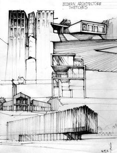 architecture drawings, good use of tone and texture, pen on paper, black and white: