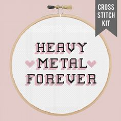 "PRESALE HEAVY METAL FOREVER 5"" contemporary cross stitch kit"